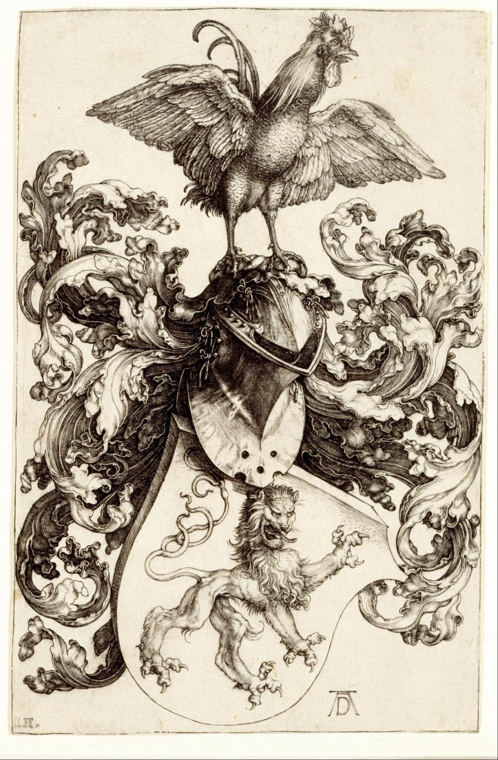 albrecht_dc3bcrer_-_coat_of_arms_with_a_lion_and_a_cock_-_google_art_project