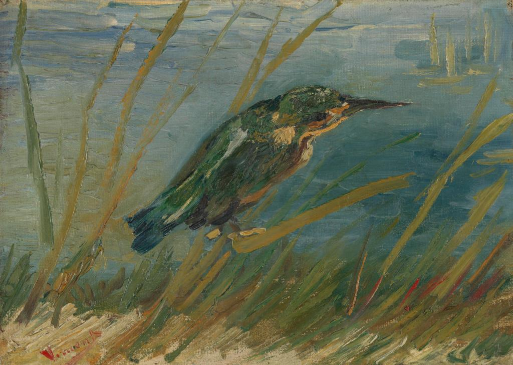 """Painting of Vincent Van Gogh's Kingfisher by the Waterside"""" and a gif of this painting combined with another painting by Van Gogh."""